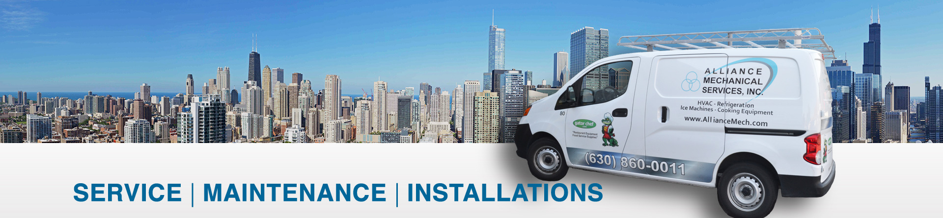 Alliance Mechanical Services have a fleet of over thirty service truck that provide service throughout Northern Illinois